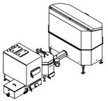06653066 Automatyczny zestaw do spalania biomasy 2m3 230V 50kW, głowica: ceramiczna, z systemem usuwania popiołu (paliwo: trociny, wióry, zrębki)