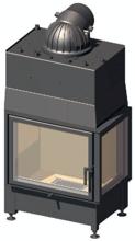 52232466 Wkład kominkowy 14,9kW Schmid Ekko W R 6751 z płaszczem wodnym, wysokość fasady: 510mm (prawa boczna szyba)