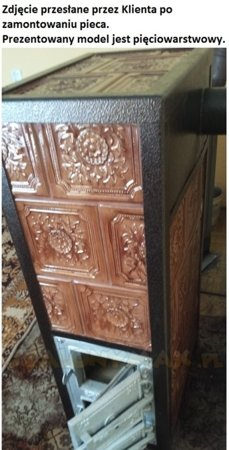 DOSTAWA GRATIS! 92238180 Piec grzewczy kaflowy 7,8kW Retro trzywarstwowy na drewno (wysokość: 76cm, wylot: 125mm)