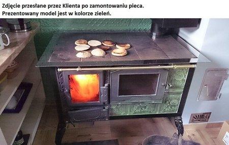 DOSTAWA GRATIS! 92238169 Kuchnia kaflowa, angielka 11kW Dominika z szybą, bez płaszcza wodnego (kolor: zieleń)