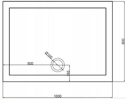 HYDAR BRODZIK SLIM PROSTOKĄTNY 100x80 AKRYL GRUBY+ SYFON 23178207