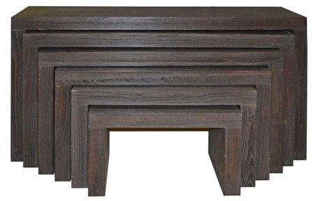 Komplet 6 stołów ciemnych 52969128