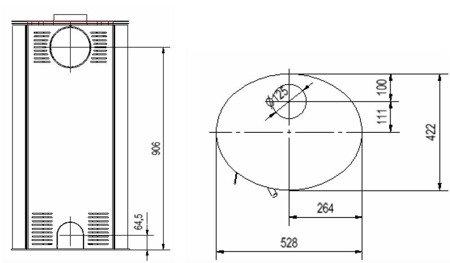 Piec wolnostojący koza 8kW AB (z panelami kaflowymi - czerwony) - spełnia anty-smogowy EkoProjekt 30060590