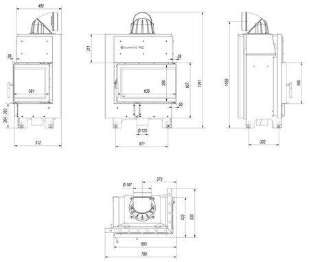 Wkład kominkowy 10kW MBM BS (prawa boczna szyba bez szprosa) - spełnia anty-smogowy EkoProjekt 30046774