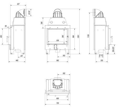 Wkład kominkowy 10kW MBM (szyba prosta) - spełnia anty-smogowy EkoProjekt 30046770