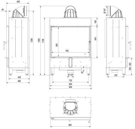 Wkład kominkowy 15kW Lucy (szyba prosta) - spełnia anty-smogowy EkoProjekt 30055399